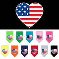 American Flag Heart Screen Print Dog Bandana