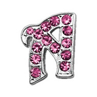 Pink Bling Script Letter Collar Slider Charms - 10mm