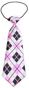 Pink Argyle Dog Neck Tie