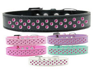 Rim-Set Bright Pink Crystal Dog Collar