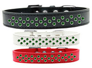 Rim-Set Emerald Crystal Dog Collar