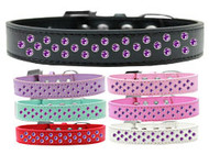 Rim-Set Purple Crystal Dog Collar