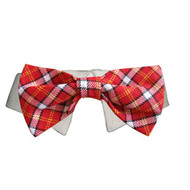 Dog Bow Tie Collar - Red Checker