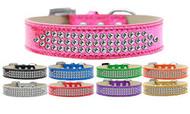 Metallic 3-Row Crystal Dog Collar