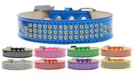 Metallic 3-Row AB Crystal Dog Collar