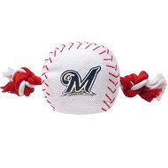 Milwaukee Brewers Nylon Baseball Rope Dog Toy