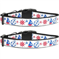 Anchors Away Nylon Ribbon Dog Collar