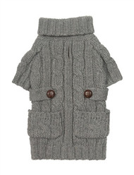 Heather Gray Chunky Turtleneck Dog Sweater