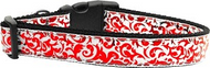 Red and White Shimmer Dog Collar