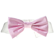 Pink Satin Dog Bow Tie