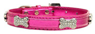 Metallic Crystal Bone Dog Collar- Pink