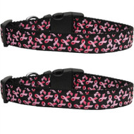 Black Pink Ribbons Dog Collar
