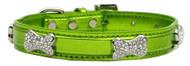 Metallic Crystal Bone Dog Collar- Lime Green