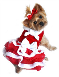 White Christmas Ruffled Dog Dress