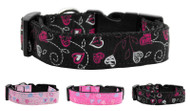 Crazy Hearts Nylon Dog Collar