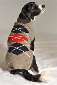 Classic Argyle Dog Sweater- Grey