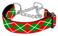 Christmas Argyle Martingale Dog Collar