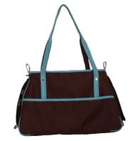 Chocolate Brown and Blue Petote Charlie Dog Bag