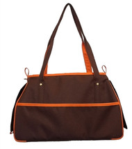 Chocolate Brown and Orange Petote Charlie Dog Bag