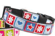 Blue Stars and Hearts Nylon Dog Collar