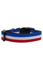 Red, White, and Blue Country Stripe Nylon Dog Collar