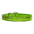 Lime Green Metallic Two Tier Dog Collar