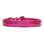 10mm Pink Metallic Two Tier Dog Collar