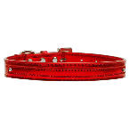 Red Metallic Two Tier Dog Collar