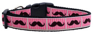 Pink Striped Moustache Nylon Ribbon Dog Collar