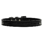 10mm Two Tier Black Faux Croc Dog Collar
