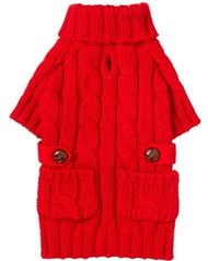 Red Pocket Cable Knit Dog Sweater
