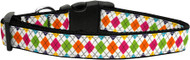 Colorful Argyle Ribbon Dog Collar