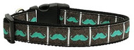 Aqua Moustache Dog Collar