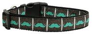 Aqua Moustache Dog Collar