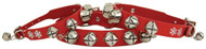 Red Jingle Bell Leather Dog Collar