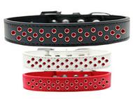 Rim-Set Red Crystal Dog Collar