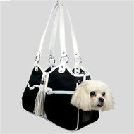 Black & White Tassle Metro Classic Dog Carrier