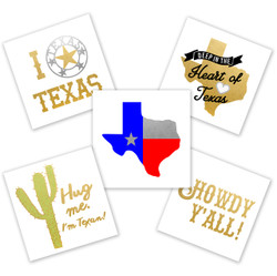 Howdy, the new 'Texas Variety Pack' features 25 Texas inspired Flash tats to mix and match for the ultimate Lone star state bling! The perfect addition to parties, tailgating, parades, holidays, promotional events and much more! #FLASHTATFORME @FlashTattoos