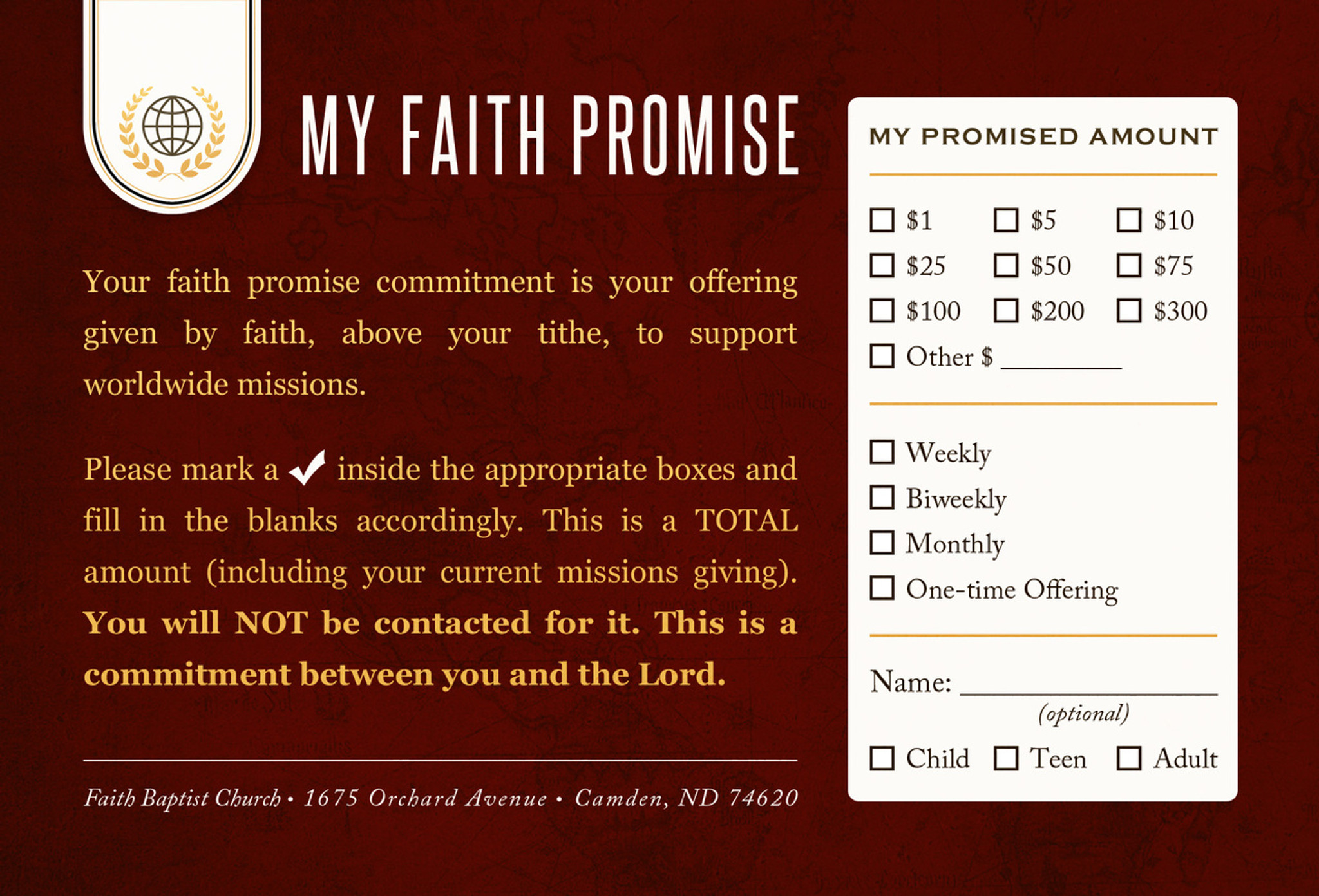 faith promise commitment card non perforated b north. Black Bedroom Furniture Sets. Home Design Ideas