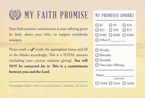 Faith Promise Commitment Card - Non-Perforated (C)