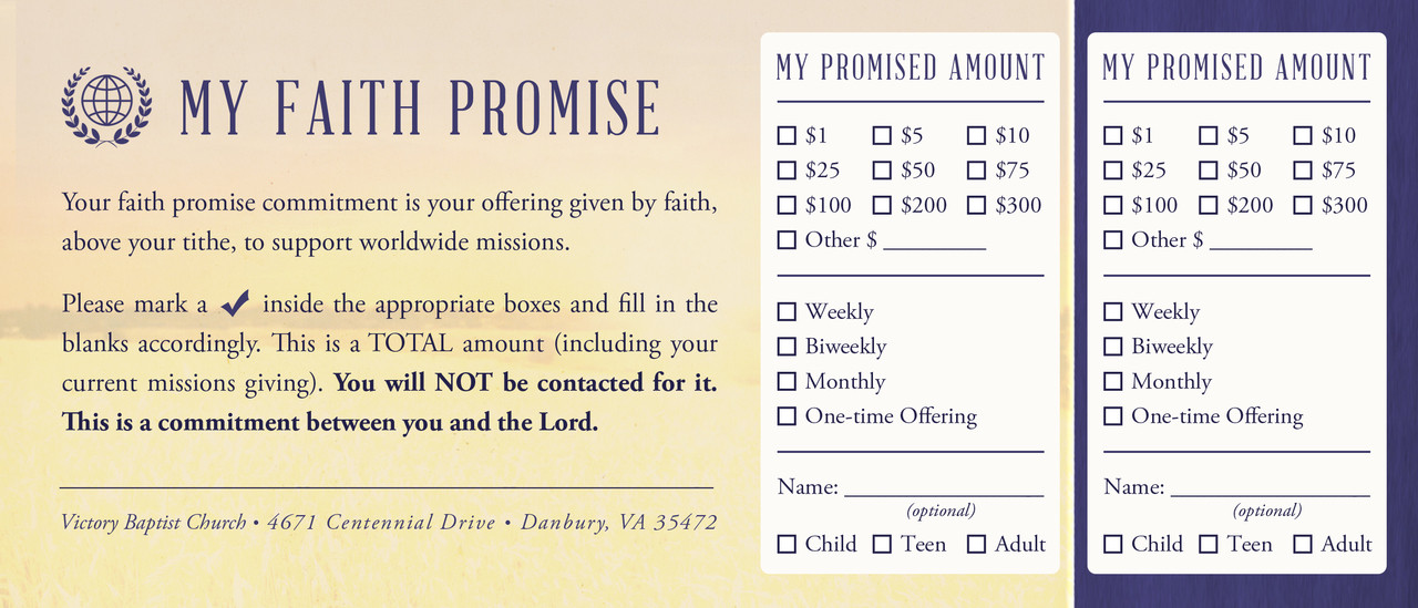 faith promise commitment card perforated c north. Black Bedroom Furniture Sets. Home Design Ideas