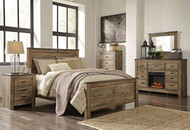 Trinell Brown 5 Pc. Queen Panel Bed, Dresser, Mirror & Nightstand