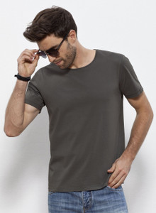 Vintage Garment Dyed Round Neck Tee Anthracite