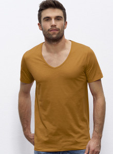 Deep V-Neck Slub Tee Sudan Brown