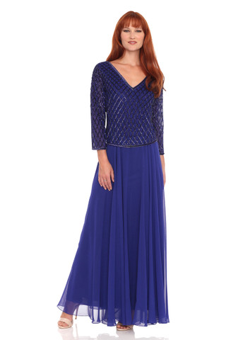 V-Neck Chiffon Beaded Dress