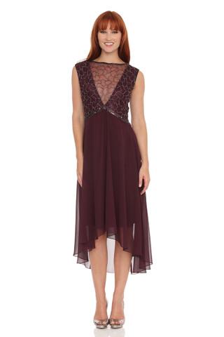 Sheer neckline with High & low hem line Dress