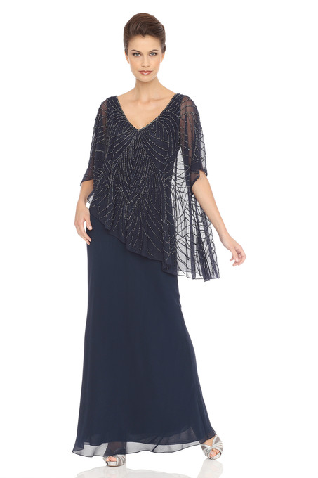 Asymmetrical Sheer Capelet Popover Dress