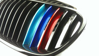 BMW Gloss Black Grills with Metallic Painted M// Stripes for E82