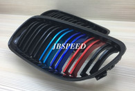 BMW Dual Slat Gloss Black Grills with Metallic Painted M// Stripes for E92/E93 Facelift