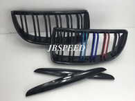 BMW Dual Slat Gloss Black Grills with Metallic Painted M// Stripes for E90 Pre Facelift (Free Express Shipping)